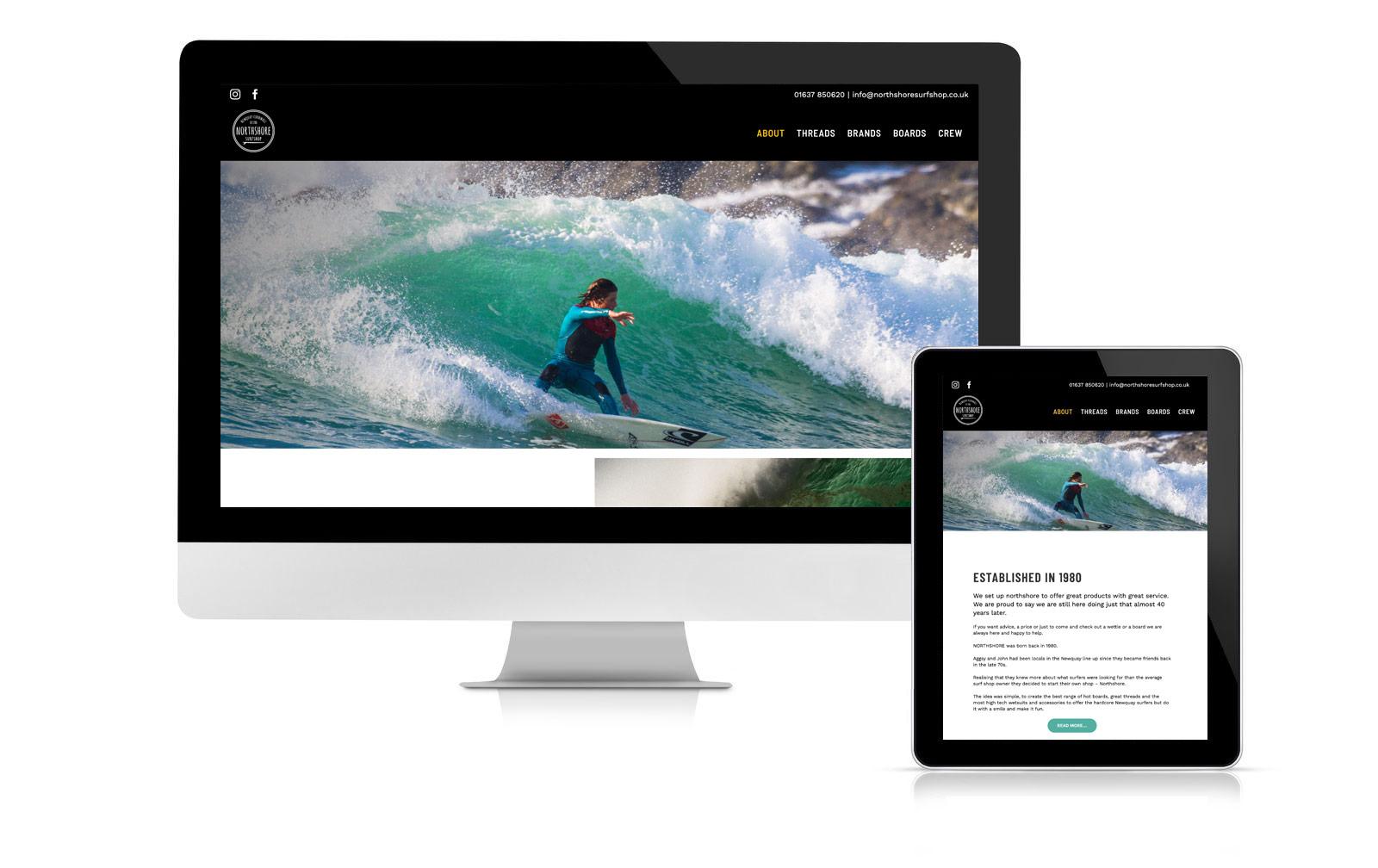 Northshore Surf Shop website